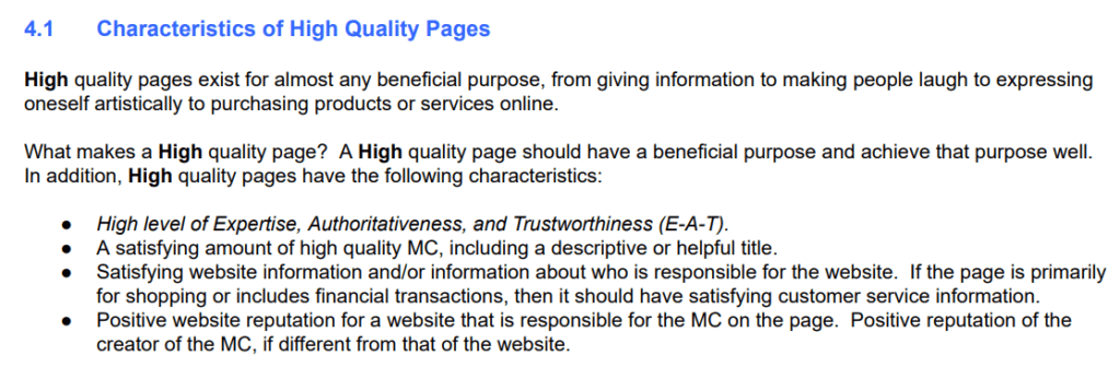 Characteristics of High Quality Pages