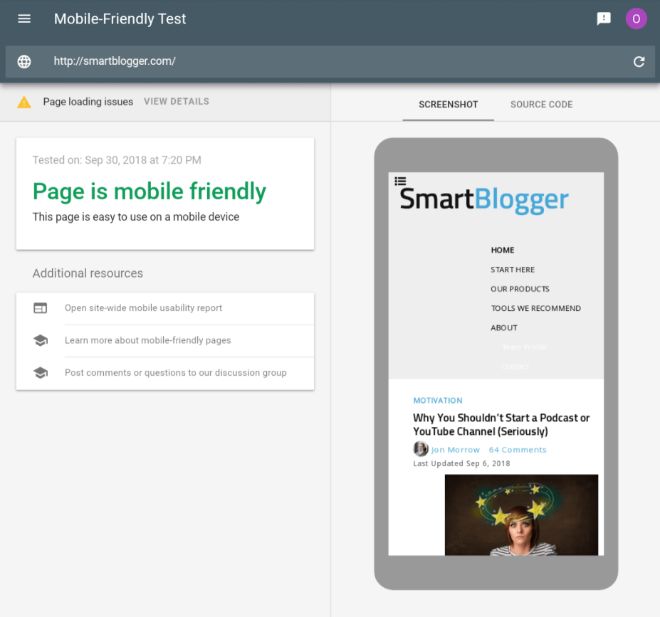 Mobile Friendly Test Report