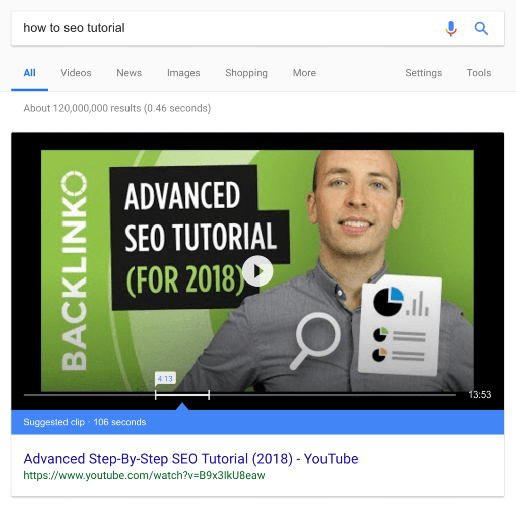 Snippets of video as top search results